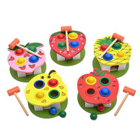1 Pc Baby Educational Toys Hammering Fruit Wooden Knock Ball Toy Hammer Box Kids Children Early Learning Toy Game (Random Model)