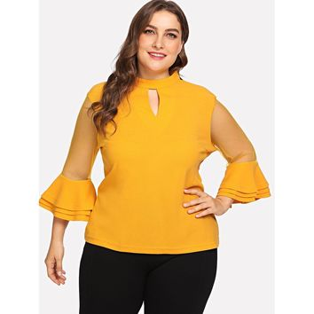 Plus Keyhole Neck Layered Mesh Sleeve Top Ginger