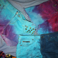 Custom Dyed and Studded shorts.