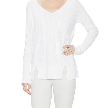 Qi Cashmere Women's Cashmere Cable V-Neck Sweater - White -