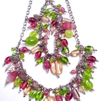 Pink and Green Beaded Statement Bracelet and Necklace Set