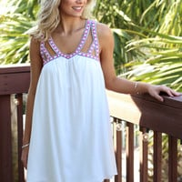 Athens White Cutout Strap Babydoll Dress