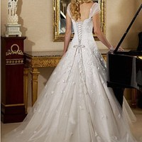 Buy Exquisite Elegant Divine Satin Ball Gown Wedding Dress In Great Handwork
