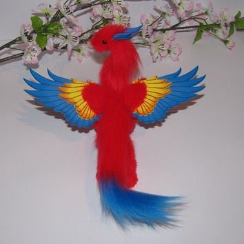dragon doll posable macaw parrot red blue yellow fantasy pet miniature faux fur handmade plush angel bird wings Jerseydays