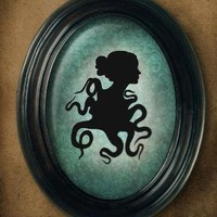 Clingy octopus silhouette 5x7 print by BarkingMadArts on Etsy
