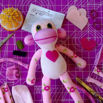Sock Monkey Plush D.I.Y. Kit No. 901 - No Sewing Machine Needed