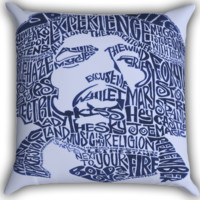 Jimi Hendrix Song Titles Collage Zippered Pillows  Covers 16x16, 18x18, 20x20 Inches