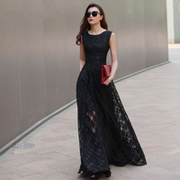 A-Line Neck O Floor-Length Sleeveless Dress