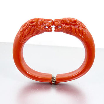 Vintage Lion Head Bracelet. Red Molded Plastic Double Lion Head Cuff Bangle. 1950's Figural Lion Jewelry.