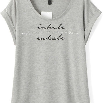 Inhale Exhale Graphic Print Grey Jewelled Folded Short Sleeve Shirt