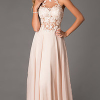 Floor Length High Neck Illusion Dress by Dave and Johnny