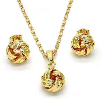 Gold Layered 10.63.0519 Necklace and Earring, Love Knot Design, Polished Finish, Golden Tone