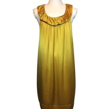 BCBGMAXAZRIA Golden 100% Silk Dress Size 6 Excellent Pre-Loved $32
