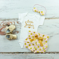 Little Sister outfit | Pink and Gold Dot, Gold Little Sister with Arrow Outfit | High Waisted Bloomers and Knotted Headband