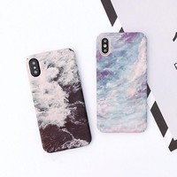 Retro Style Sea Wave Starry Sky Matte Hard Phone Case For iPhone X 8 7 6s 6 Plus
