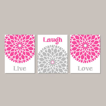 LIVE LAUGH LOVE Wall Art Hot Pink Gray Artwork Bedroom Wall Decor Bathroom Decor Picture Living Room Decor Flower Set of 3 Prints or Canvas