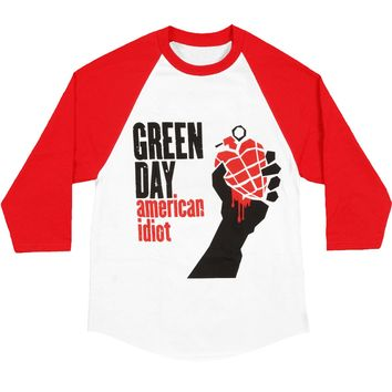 Green Day Men's  American Idiot Baseball Jersey Red/White