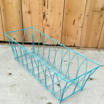 Wire Basket Centerpiece Fruit & Veggie Holder Rectangle Metal Container Towel Rack Hand Towel Storage Aqua Bathroom Decor Turquoise Kitchen