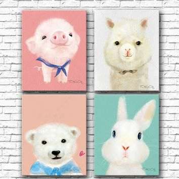 35*45cm Diy Oil Painting Cute Animals Colors By Numbers Penguin Modular Painting Pig Digital Paint Numbers Rabbit