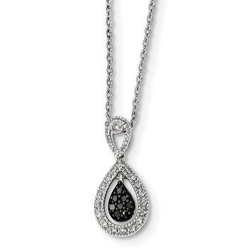 White & Black Diamond Teardrop Necklace in Sterling Silver