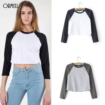 ORMELL New Summer Autumn Style T Shirt Women Vintage Retro Three Quarter Sleeve Casual Tops Crop Tees O-Neck