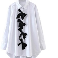 White Bow Front Shirt High Low Casual Blouse Long Sleeve Brief Women New Tops Elegant Lapel Collar Cotton Blouse