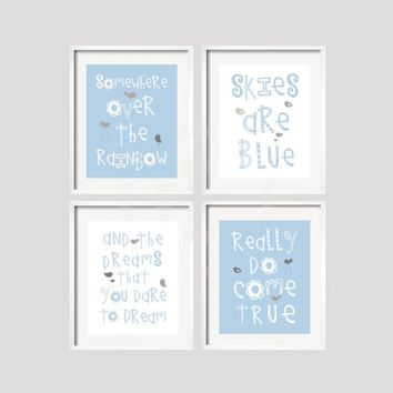 Somewhere Over The Rainbow Baby Blue White and Gray Nursery Wall Art Prints Girl or Boy Colors available Choose your Size