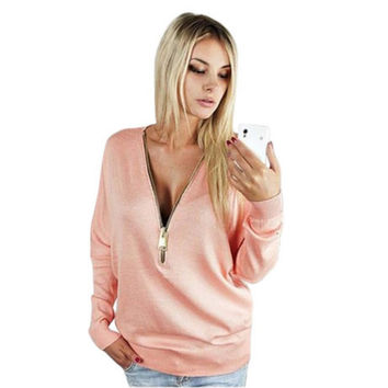 New Women Casual Deep V Neck Zipper Long Sleeve Tank T-Shirt Tops X16