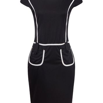 Streetstyle  Casual Square Neck Contrast Trim Patch Pocket Bodycon Dress