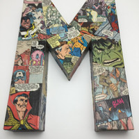 "Marvel Comic Book Collage ""Letter M for Marvel"" Shelf Sign - Wall Art - The Letter M - Marvel Wall Sign"