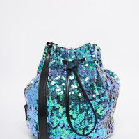 Jaded London Mermaid Iridescent Sequin Bucket Bag