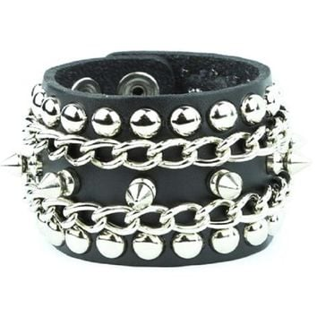 Silver Spikes, Studs & Chain Black Leather Wristband Bracelet Cuff