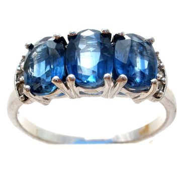 Blue & White Sapphire Ring Sterling Silver Size 9
