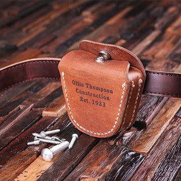 Personalized Engraved Leather Tool Belt Attachment