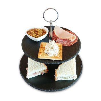 Slate Cake Stand - 2 Tier - Cupcake Dessert Stand - Elegant Tea Party Slate Serving Platter for Weddings, Parties with Premium Gift Packaging. Cheese Tower also holds Cookies, Tapas, Appetizers