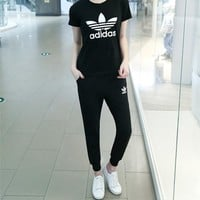 """Adidas"" Women Fashion Casual Letter Print Short Sleeve Trousers Set Two-Piece Sportswear"
