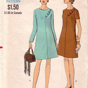 Vintage VOGUE 7611, Half Size 14 1/2, Misses A Line Dress