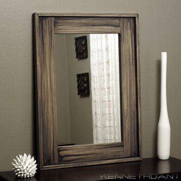 Modern Rustic Wood Mirror Streaky Weathered Farmhouse Barn Black Gray Natural