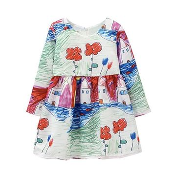 Autumn Winter Baby Girls Flower Houses Graffiti Printing Round Collar Long Sleeves Princess Dress With Zipper On The Back