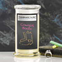 Cowgirl Boots Chalkboard Jewelry Candle