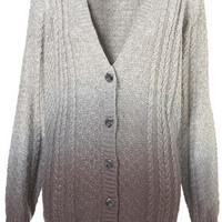 Knitted Dip Dye Cable Cardi - Knitwear  - Apparel