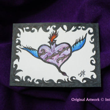ACEO Original Art Card - Sacred Heart/ Alternative - (2.5 x 3.5 inches) - Ink and Paint - IntricateKnot