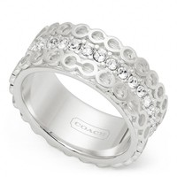 Coach :: Sterling Op Art Pave Band Ring