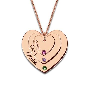 Birthstones Triple Heart Engraved Rose Gold Necklace