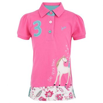 Pink Polo with Horse Applique