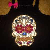 Sugar Skull Tank - GLITTER - Womens Fitness Clothing - Workout shirt - Fitness Shirt - Gym Apparel - Motivational Shirt - Ruffles with Love