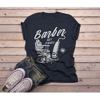 Men's Barber T-Shirt Get Faded Vintage Tee Chair Clippers Barbers Shirt
