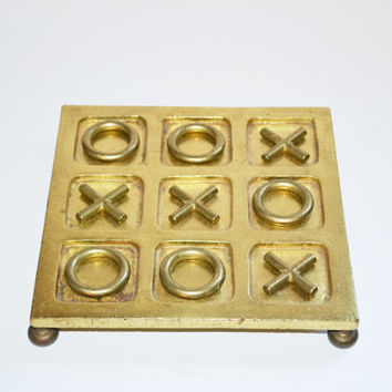 Vintage Brass Tic Tac Toe Game Vintage Board Game Brass Coffee Table Game Home Decor Table Top Decor LARGE Heavy Tic Tac Toe Game