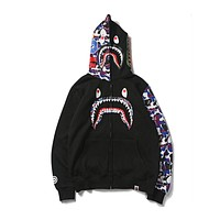 BAPE couples camouflage shark hip hop street stitching tide brand sweater F-A-KSFZ Black