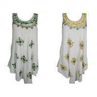 Mogul 2PC Women's White Beach Sundress Floral Embroidered Loose Flare Sleeveless Flowy Tank Dress Cover up S/M - Walmart.com